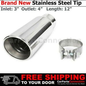 Universal Truck Angled Polished 12in Clamp on Exhaust Tip 3 In 4 Out Rolled Edge
