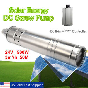 500w 24v 50m 3m3 h Dc Brushless Solar Powered Water Pump Submersible Deep Well