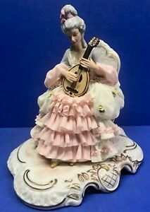 Large Vintage German Dresden Porcelain Figurine Mandolin 9 Numbered Pink Lace