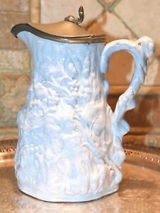 Ivy Tree Trunk Pattern Stoneware Hinged Pewter Lid Syrup Pitcher C1800 S Blue