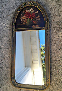 Lovely Vtg Antique Victorian Trudeau Mirror W Painted Roses Flowers Wood Frame