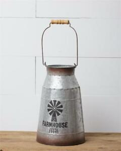 Vintage Style Farmhouse Milk Can Windmill Primitive French Country Reproduction