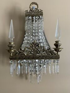 Antique French Crystal Beaded Basket Chandelier Wall Sconce Lamp