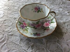 Crownford Queen S Staffordshire England Tea Cup And Saucer English Charm Floral