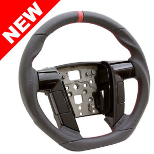 Handkraftd 2011 2014 Ford F150 Steering Wheel Black Perforated Leather W Red