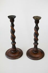 Pair Of Antique English Barley Twist Oak Brass 12 5 Candlesticks Candle Holders