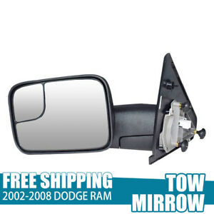 Manual Tow Side Mirror For 2002 2008 Dodge Ram Pickup Towing Mirrors Lh 1pc