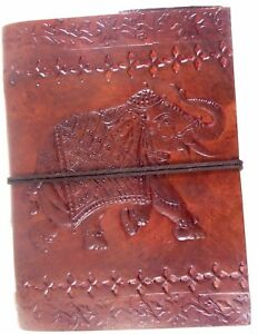Elephant Embossed Handmade Leather Journal Notepad Notebook Blank Paper Diary D3