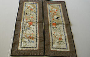 2 Asian Chinese Silk Embroidered Vintage Textile Panel Robe Sleeve Birds Flowers