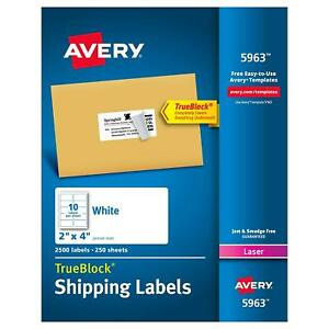 Avery 5963 Shipping Labels Permanent Adhesive 2 X 4 White Box Of 2 500