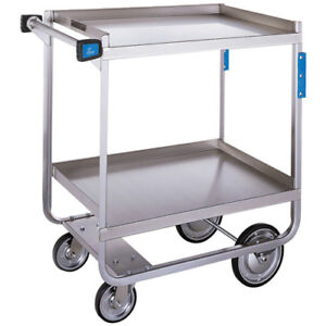 Stainless Steel Utility Cart 700 Lb Cap Two 15 5 wx24 d Shelves Nsf Listed