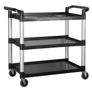 Bussing And Utility Cart 3 Shelves 40 wx20 dx38 h Overall Black