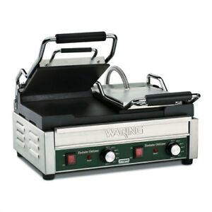 Waring Wfg300 Panini Grill Dual Top Cast Iron Smooth Plates
