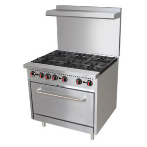 Central Restaurant Cr6 36 6 Burner Natural Gas Range W casters And Oven Rack