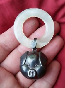 Antique Vintage Sterling Silver Baby Rattle Little Pig Face Head Scarce