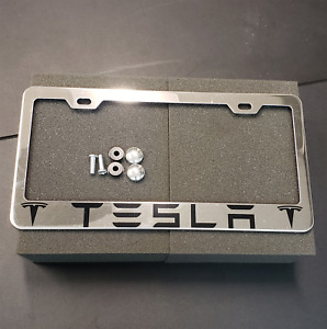 Stainless Steel Chrome Tesla License Plate Frame Plate Frame Cap Screw Valve