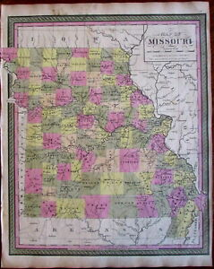 Missouri State By Itself 1848 9 Mitchell Burroughs Scarce Map Hand Color