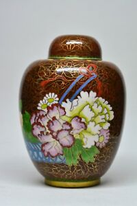 Vintage Chinese Cloisonn Ginger Jar 5 Inches Tall