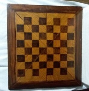 Vintage Folk Art 12 Pc Wooden Checker Board Antique Homemade Game 19 1 2 X21 1 4