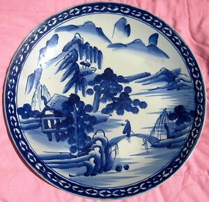 Antique Japanese Porcelain Blue White Charger Plate