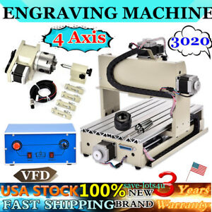 4 Axis Router Wood Metal Cutting Engraver 3020 3d Drilling Milling Machine Usa