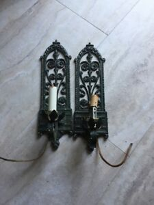 Vintage Allied Metal Ind Wall Hung Light Sconces For Parts Or Repair Project