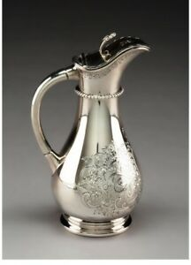 A080 A Haddock Lincoln And Foss Coin Silver Syrup Pitcher Circa 1860