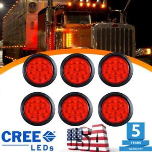 6x Tail Light Red 12 led 4 Inch Round Reverse Back up For Car Trailer Truck Rv