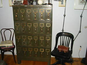 Vintage Metal Steel File Cabinet Draws Documents Prints Maps Industrial Brass