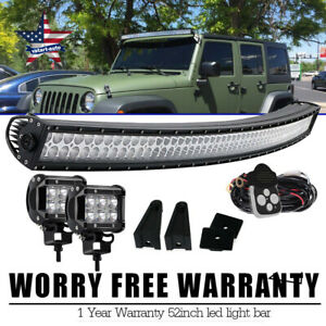Offroad 900w 52inch Led Light Bar Curved Flood Spot Combo Truck Roof Driving 4wd