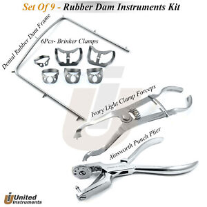 Universal Rubber Dam Kit Starter Of 8 Pcs Frame Punch Clamps Dental Ainsworth Ce