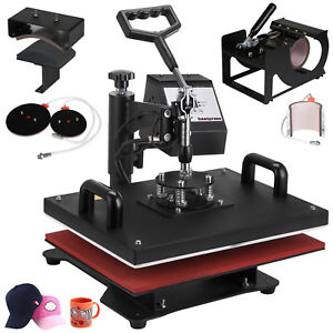 6 In 1 Heat Press Machine For T shirts 12 x15 Combo Kit Sublimation Swing Away