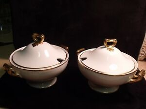 Matched Pair Antique Grindley England Small Gilt White Porcelain Tureens
