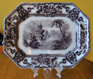 Lovely Antique Flow Mulberry Staffordshire Ironstone Platter Davenport Cyprus