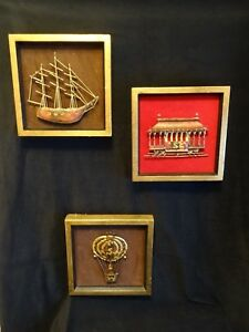 3 Mid Century Vtg Decor Art Wall Hanging Copper Brass Balloon Train Ship Framed