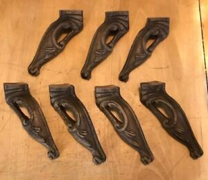 Lot Of 7 Vintage Salvaged Carved Wood Claw Foot Furniture Accents Legs 7 5 X 2