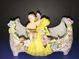 Antique Vintage Wales Porcelain Victorian Cherub Compote Decoration Figurine