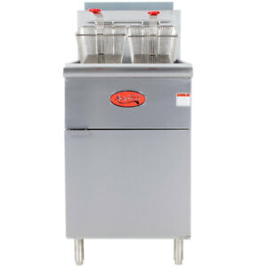 70 100 Lb Commercial Restaurant Natural Gas Stainless Steel Floor Deep Fryer