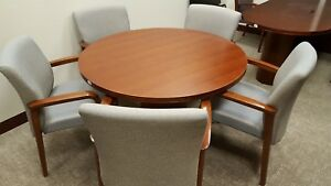 Exclusive Kimball Office Round 48 Cherry Veneer Wood Conference Table