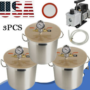 3x5gallon Vacuum Chamber And 3cfm Single Stage Pump To Degassing Silicone Safe