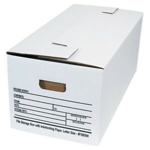 Letter Size Interlocking Flap File Storage Boxes box Of 12