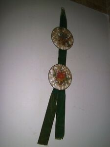 1940 S Glass Bubble Convex Plastic Wall Hanging Dried Flowers Velvet Bell Pull