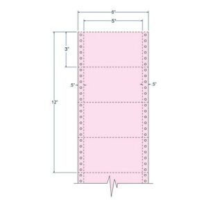 5 X 3 Pink Pinfeed Index Cards Perfed 4 000 Cards Per Carton