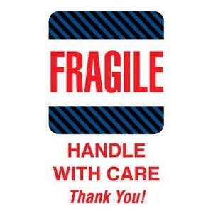 6 X 4 Fragile Handle With Care Thank You Labels 500 Per Roll
