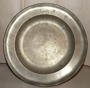 Inscribed Large Antique Pewter Plate Bowl Marked Makes Great Fruit Bowl