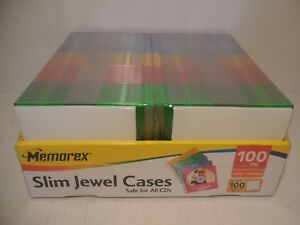 Memorex 100 Slim Jewel Cases 5 Colors 100 Inserts to Make Cd s new Never Opened