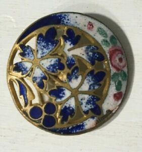 Antique Victorian Enamel And Pierced Metal Buttons Set Of Six