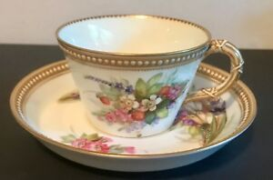 Rare Royal Worcester Jewelled Glazed Cabinet Cup Plate Set With Floral Spray