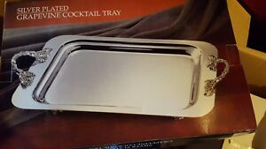 International Silver Grapevine Cocktail Tray W Handles Silverplated New