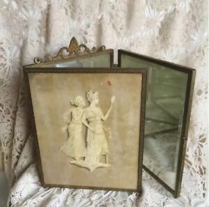 Antique Late 1800s Greek Scene Tri Fold Travel Mirror